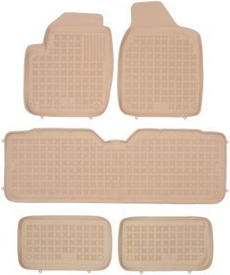 REZAW PLAST beżowe gumowe dywaniki samochodowe Volkswagen Sharan 7-osobowe od 1995-2010r. 200103B