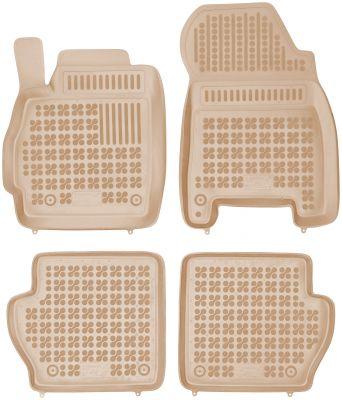 REZAW PLAST beżowe gumowe dywaniki samochodowe Mazda 2 III z wycięciem na gaśnicę od 2007-2014r. 200802B/Z