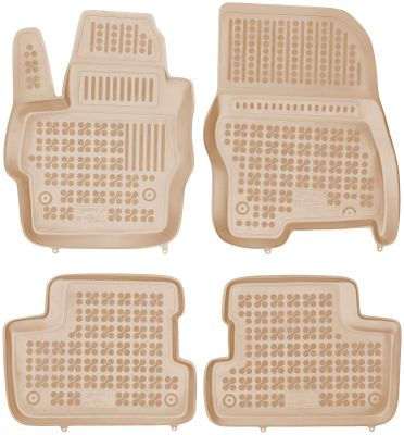 REZAW PLAST beżowe gumowe dywaniki samochodowe Mazda 3 I/II z wycięciem na gaśnicę od 2003-2013r. 200803B/Z