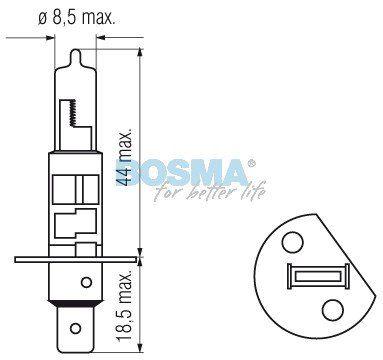 Żarówka Bosma H1 12V 55W P14,5S